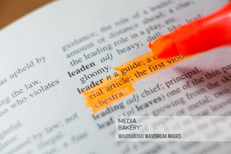 Close-up of marker pen highlighting text in a book