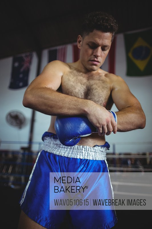 Boxer wearing boxing gloves in boxing ring