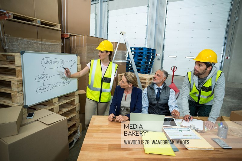 Warehouse workers and managers discussing plan on whiteboard in warehouse
