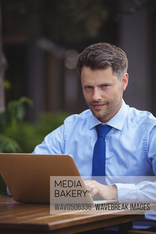 Portrait of handsome businessman using laptop at outdoor cafA?