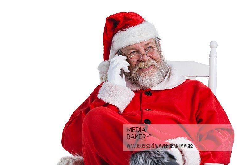Santa claus talking on mobile phone