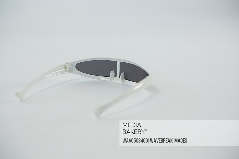 Close-up of virtual reality video glasses on white background