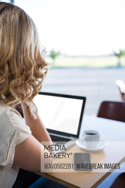 Rear view of woman using her laptop in coffee shop