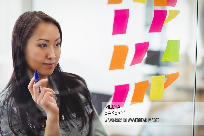 Confident creative businesswoman looking at multi colored sticky notes on glass in meeting room at creative office