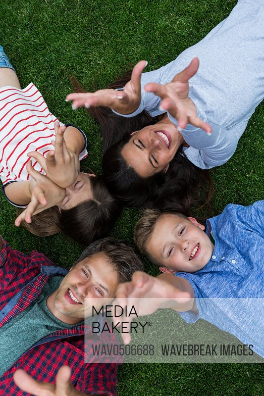 Happy family lying on grass in park on a sunny day