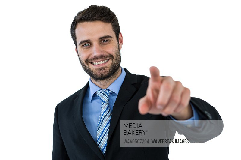 Businessman using digital screen on white background