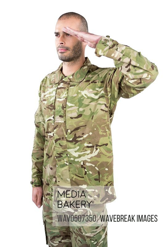 Soldier giving a salute on white background
