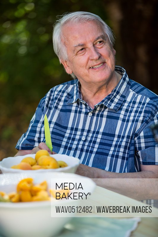 Senior man sitting at table with apricot fruits in bowl at garden