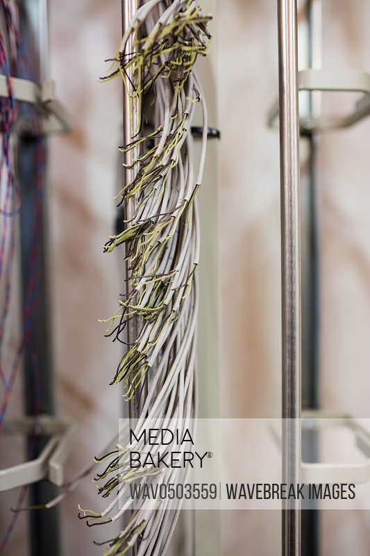 Close-up of optic fiber cable in server room