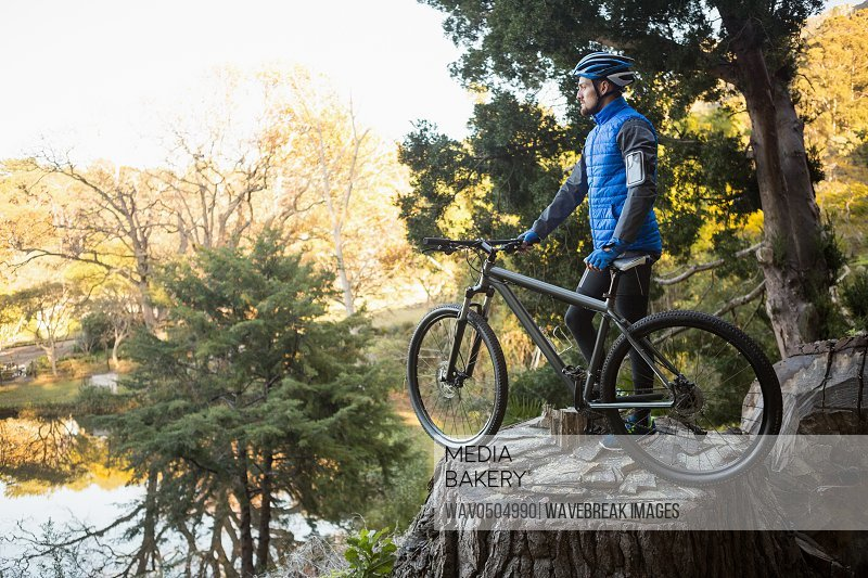 Male mountain biker with bicycle looking at nature in the forest