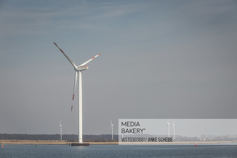 Germany, Warnemuende, Rostock Port, wind park