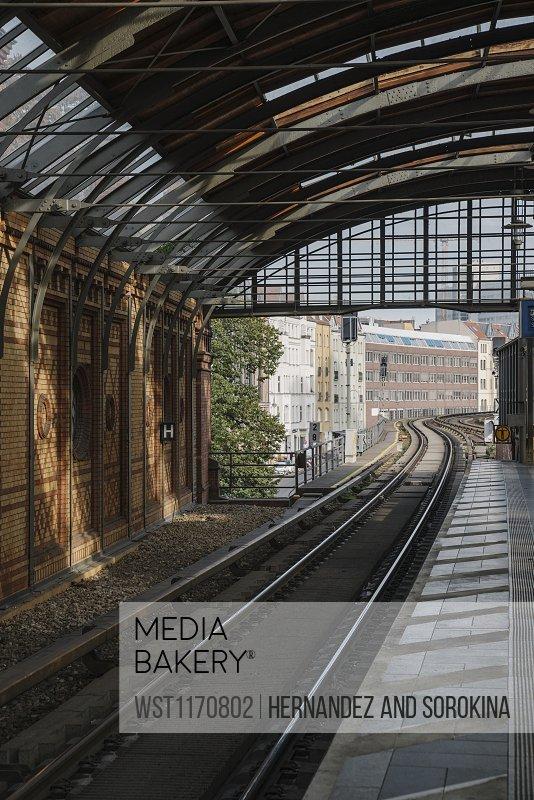 Railway tracks of a metro line, Berlin, Germany