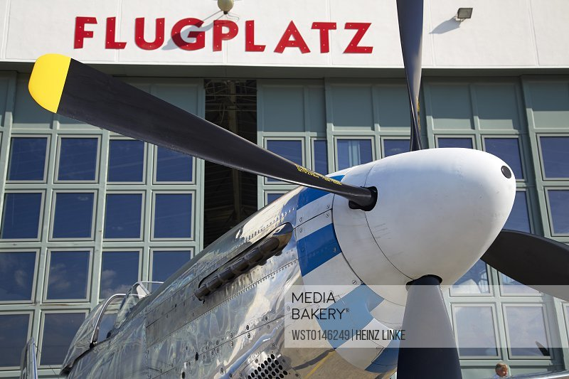 Germany, Baden Wuerttemberg, Freiburg, North-American P51-D airplane at airport