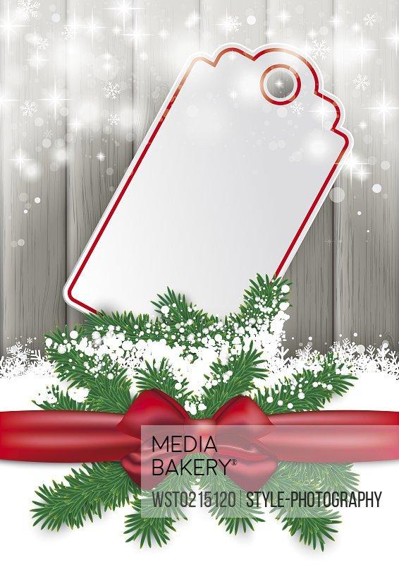 Ribbon, snow and gift tag, vector graphics