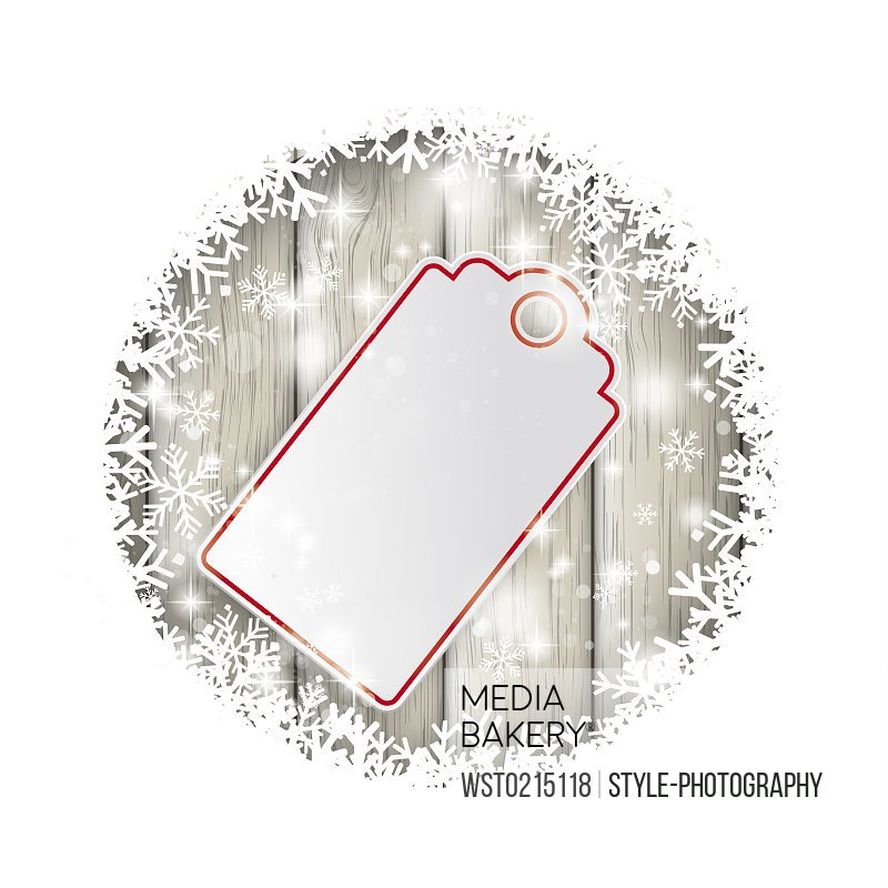 Blank price tag and snow, vector graphics