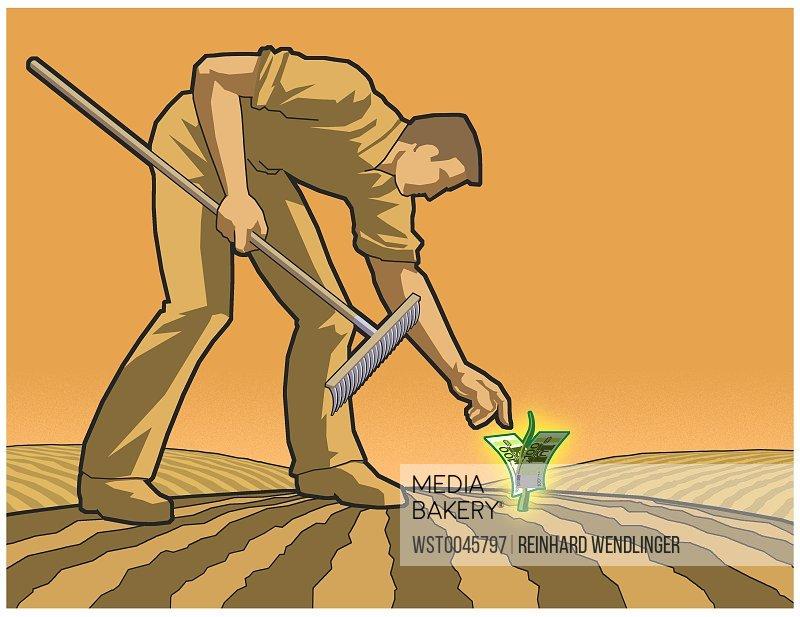 Man planting money
