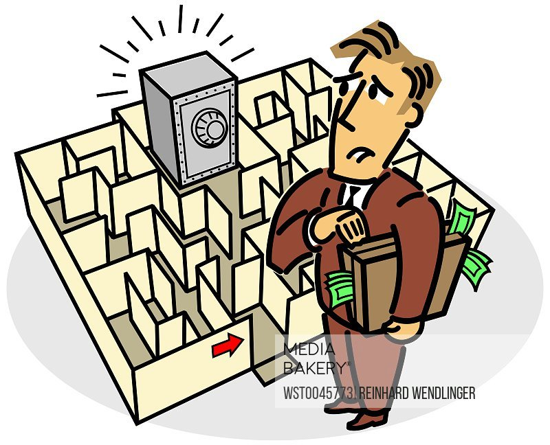Man standing in front of labyrinth with bank safe