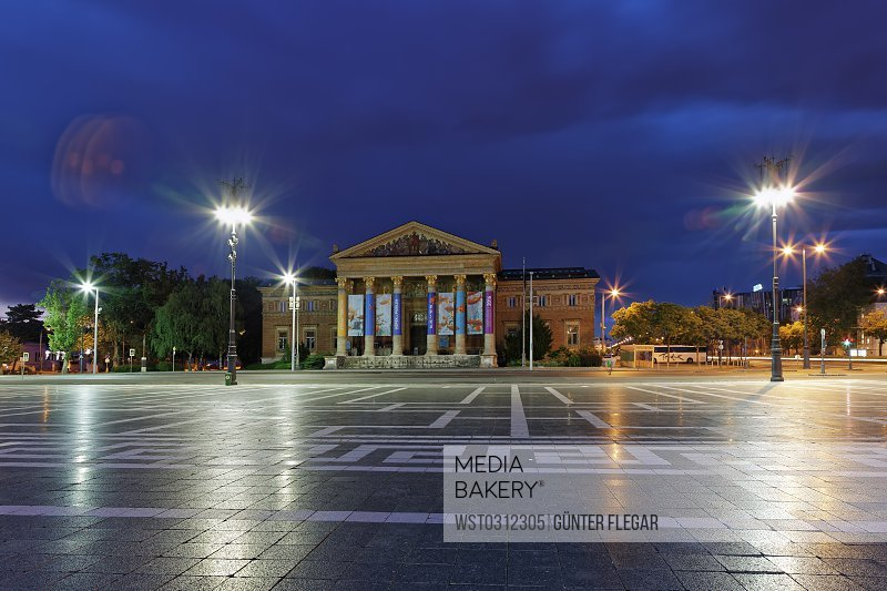 Hungary, Budapest, Hall of Art at Heroes Square at night