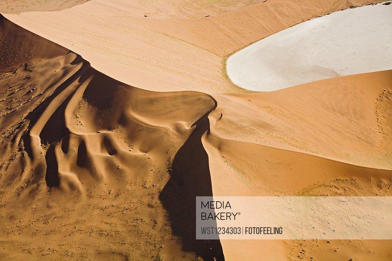 Africa, Namibia, Deadvlei, Desert landscape, Aerial view