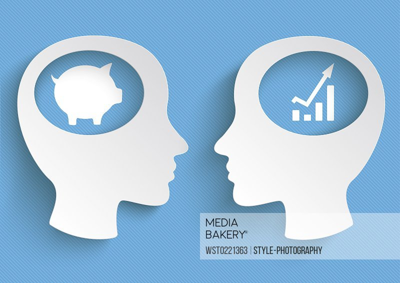 Vector Illustration, heads, piggy bank, chart