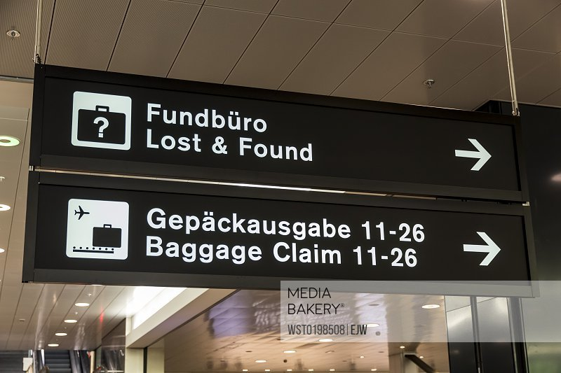 Switzerland Zurich direction signs at airport