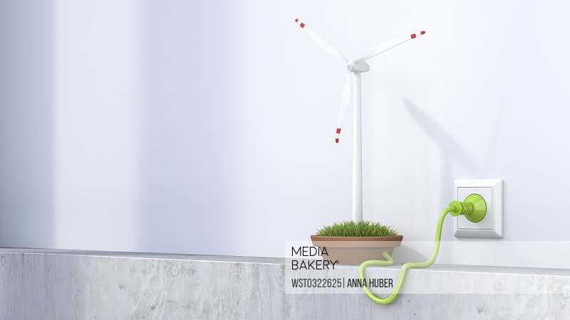 3D Rendering, Wind wheel producing electricity