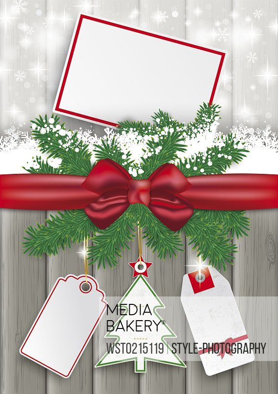 Ribbon, snow and gift tag, vector graphics