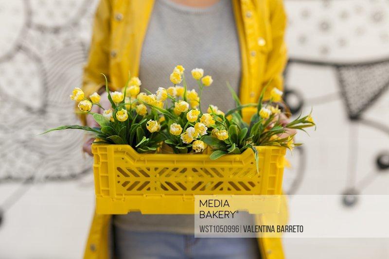 Mediabakery photo by westend 61 close up of woman holding yellow close up of woman holding yellow spring flower box mightylinksfo