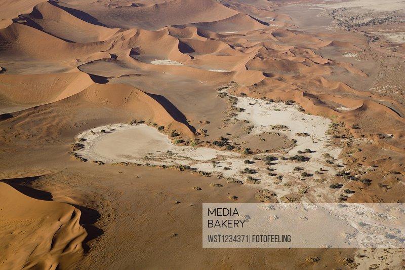 Africa, Namibia, Sossuvlei, Desert landscape, Aerial view