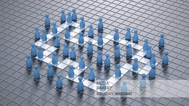 3D Rendering, blue game pieces, board game