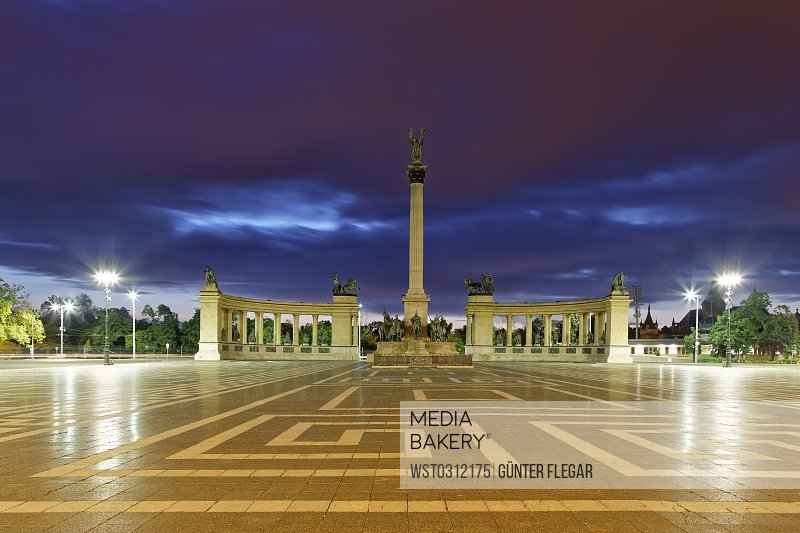 Hungary, Budapest, Heroes' Square, Millennium Monument in the evening