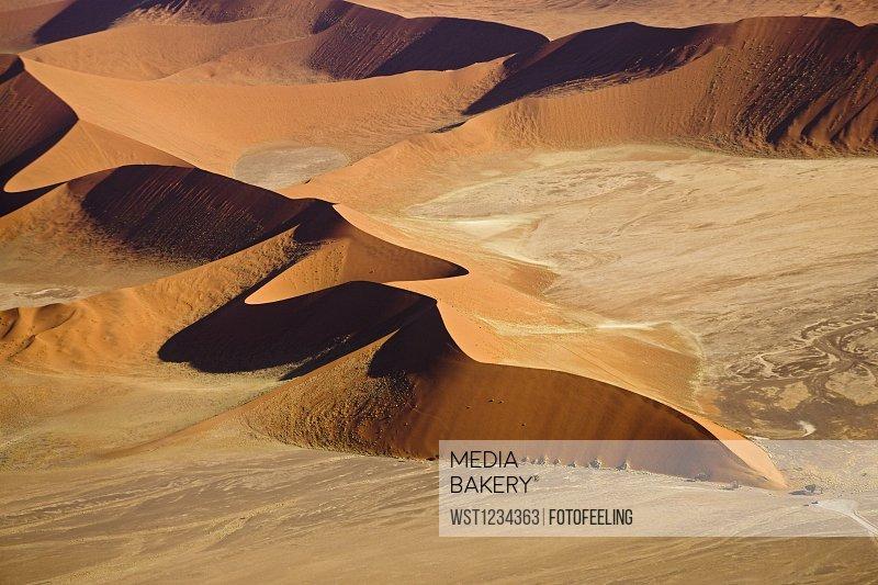 Africa, Namibia, Sossusvlei, Desert landscape, Aerial view
