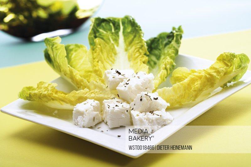 Romana salad with feta cheese