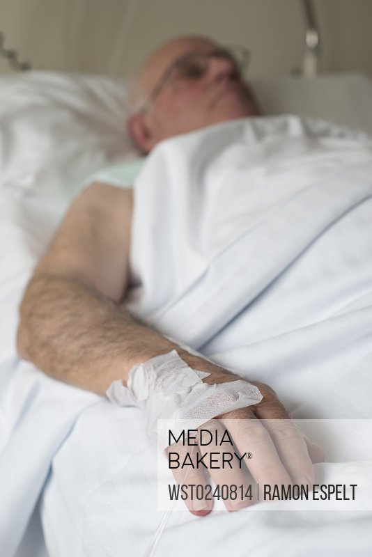 Hand of a senior man after surgery
