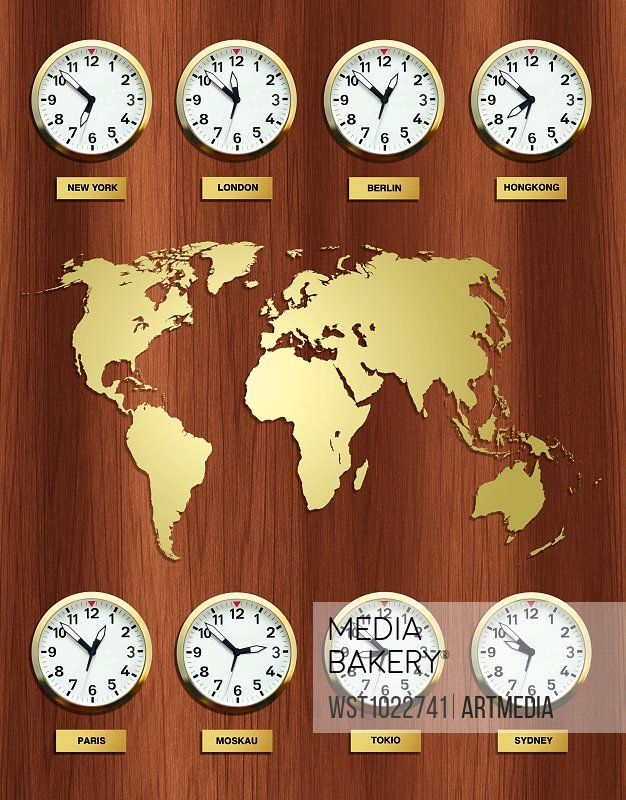 Time zones with world map