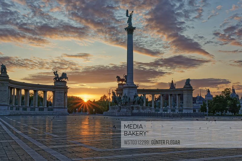 Hungary, Budapest, Heroes' Square, Millennium Monument at sunset
