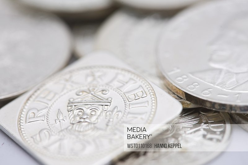 Variety of silver coins, close up