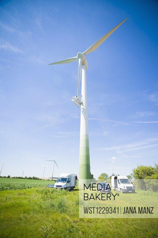 Germany, Saxony, View of wind turbine in wind park