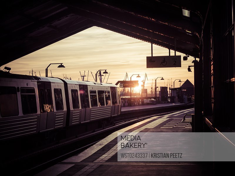 Germany, Hamburg, underground station Baumwall at sunset<br><br><span style='color: red'>Editorial Use Only.</span><br><br>
