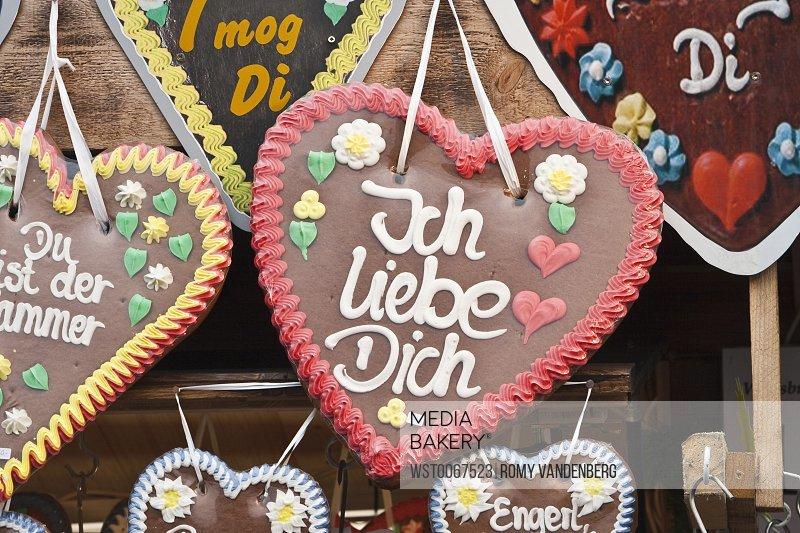 Photo By Westend 61 Germany Munich Oktoberfest Gingerbread Hearts Close Up