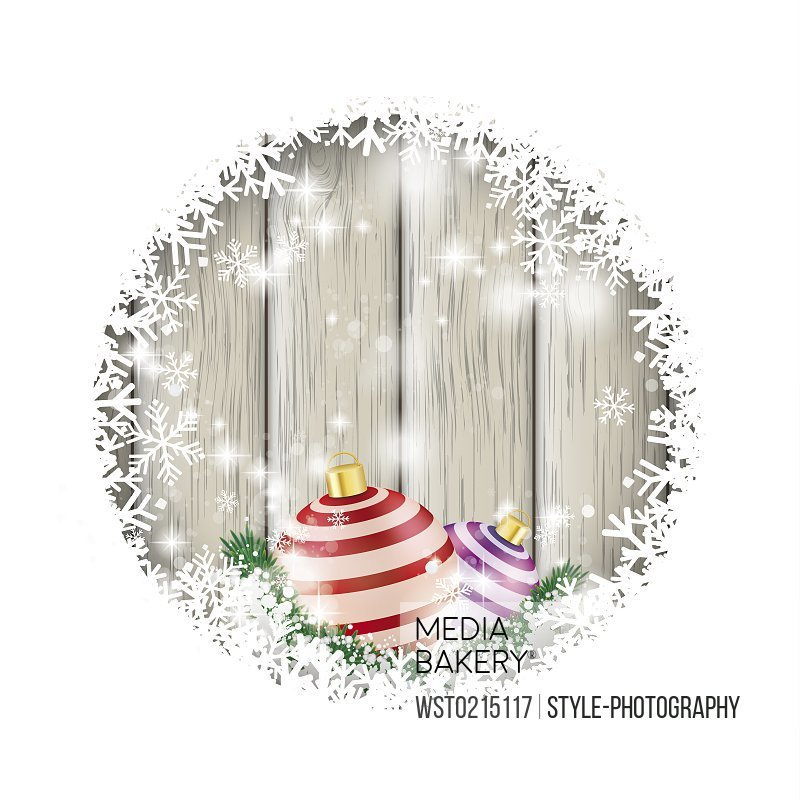 Christmas baubles and snow, vector graphics
