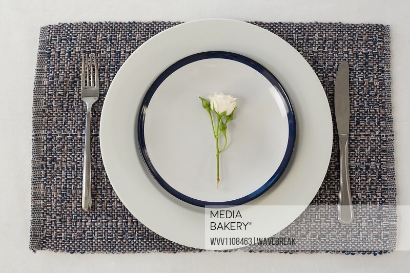 Overhead of elegance table setting on placemat